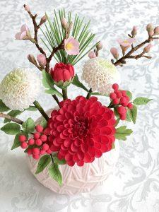 ダリア・ポンポン菊・お正月・和風ケーキ
